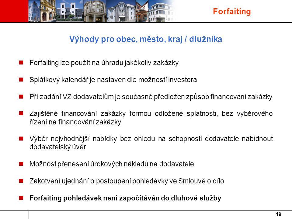 Výhody pro obec, město, kraj / dlužníka