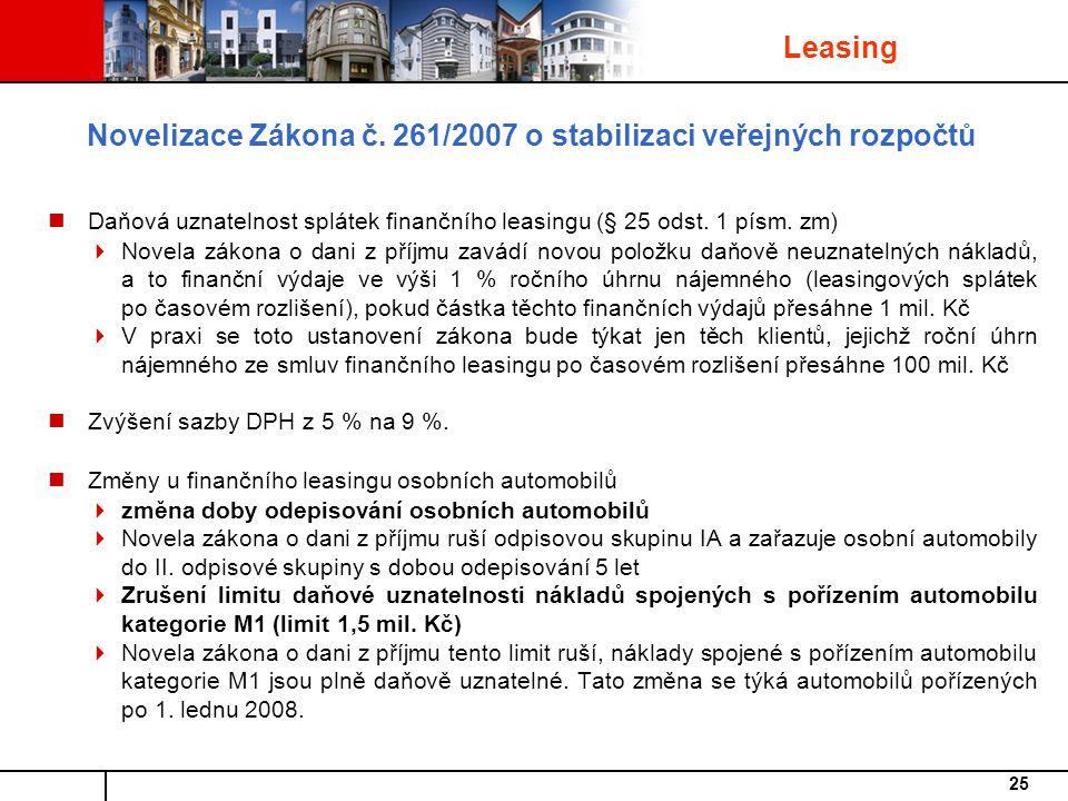 Novelizace Zákona č. 261/2007 o stabilizaci veřejných rozpočtů