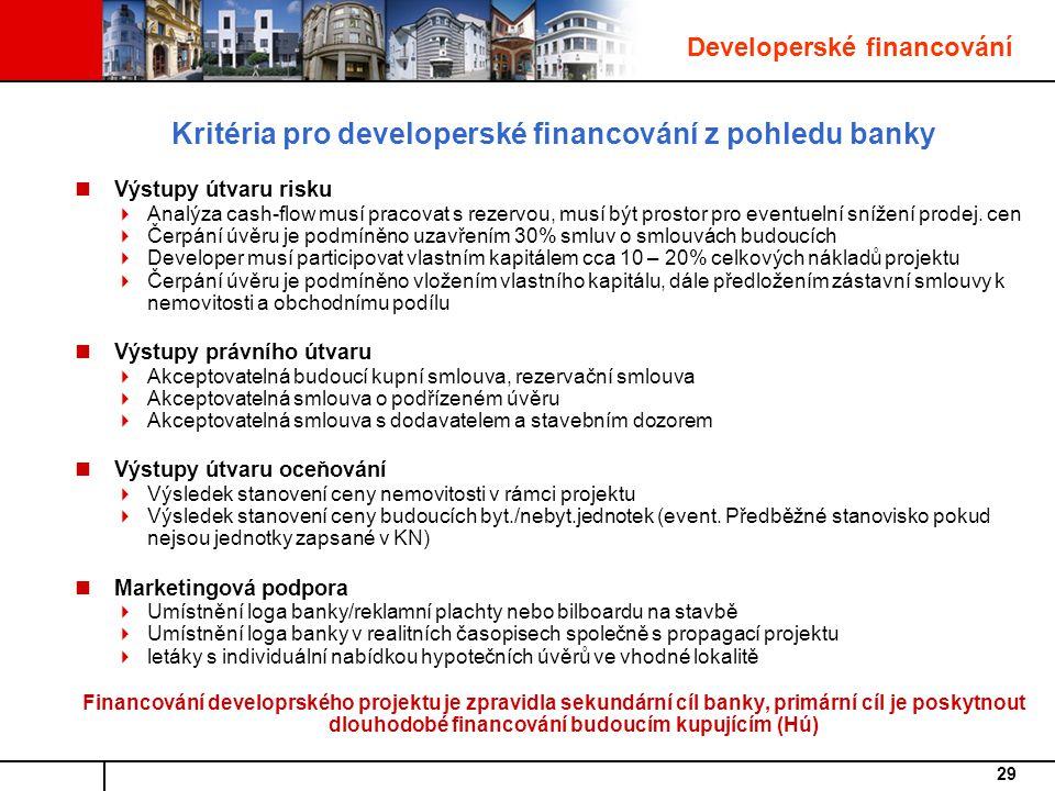Kritéria pro developerské financování z pohledu banky