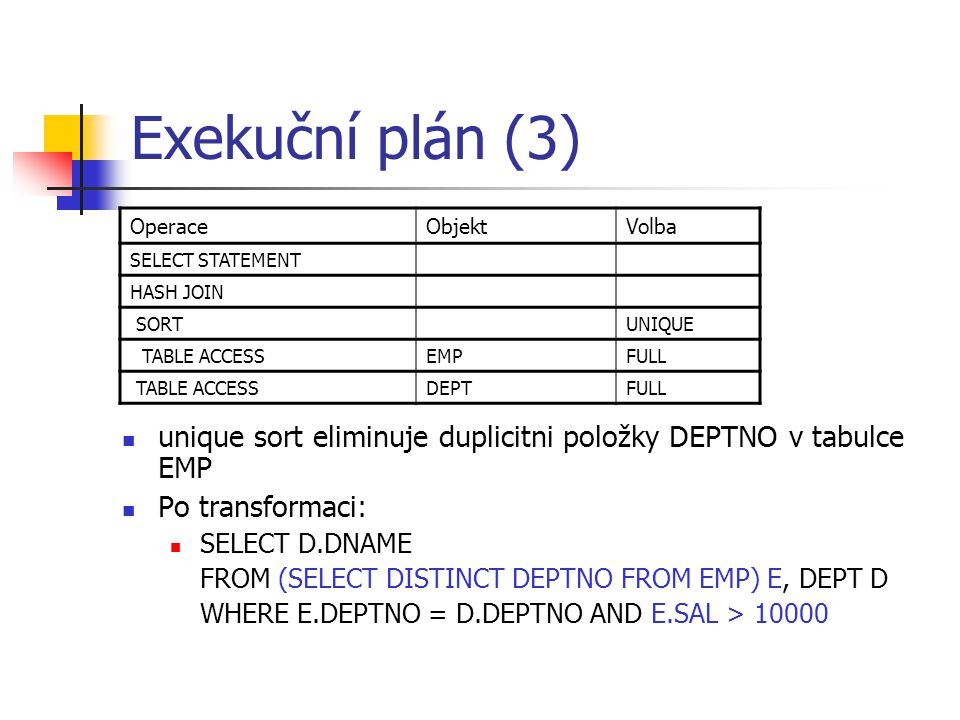 Exekuční plán (3) Operace. Objekt. Volba. SELECT STATEMENT. HASH JOIN. SORT. UNIQUE. TABLE ACCESS.