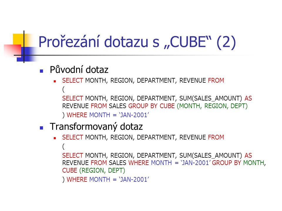 """Prořezání dotazu s """"CUBE (2)"""