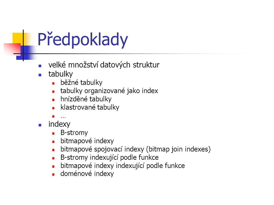 Předpoklady velké množství datových struktur tabulky indexy