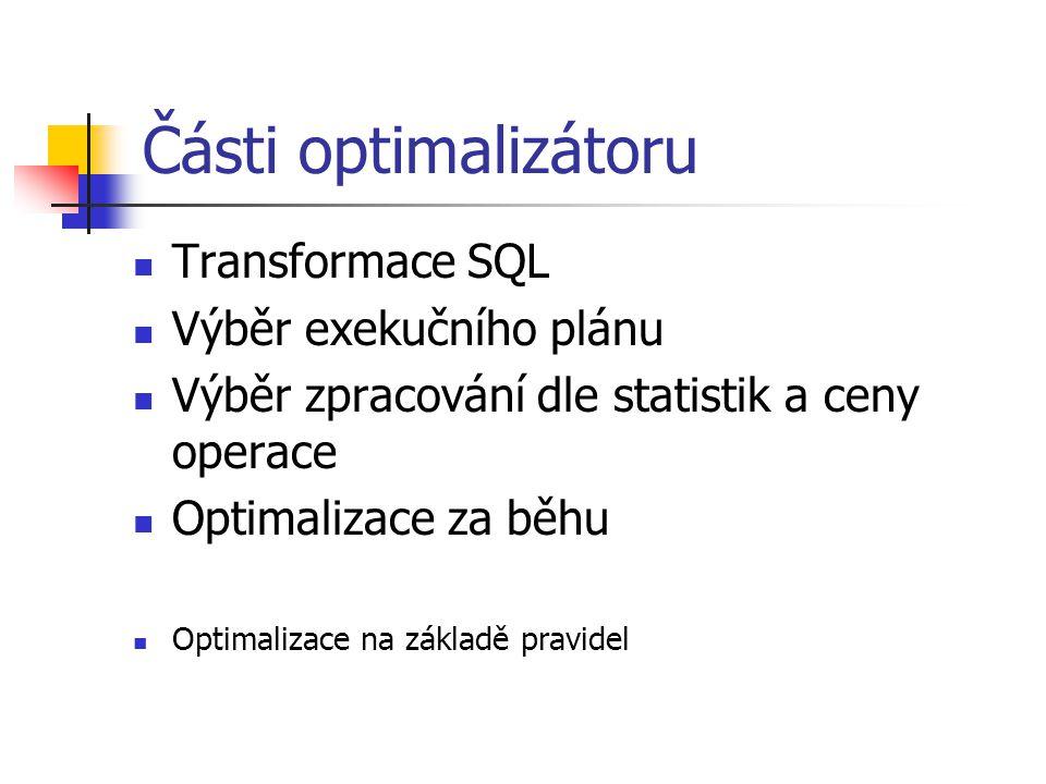 Části optimalizátoru Transformace SQL Výběr exekučního plánu