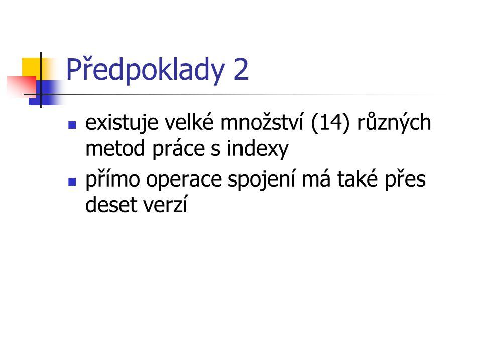 Předpoklady 2 existuje velké množství (14) různých metod práce s indexy.