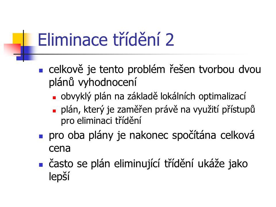 Eliminace třídění 2 celkově je tento problém řešen tvorbou dvou plánů vyhodnocení. obvyklý plán na základě lokálních optimalizací.