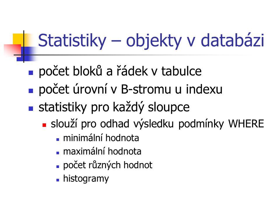 Statistiky – objekty v databázi
