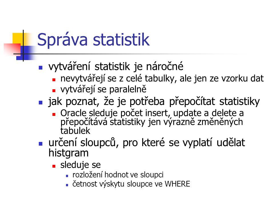 Správa statistik vytváření statistik je náročné