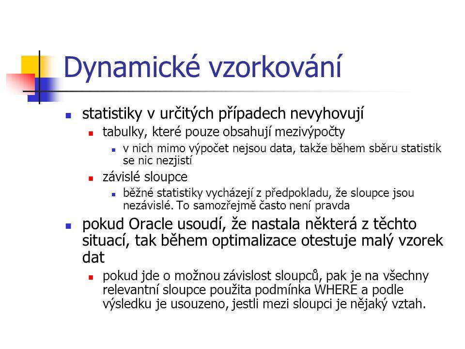 Dynamické vzorkování statistiky v určitých případech nevyhovují