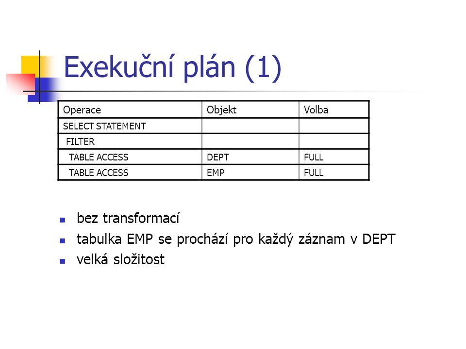 Exekuční plán (1) bez transformací