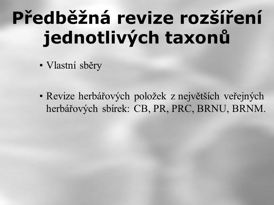 Předběžná revize rozšíření jednotlivých taxonů