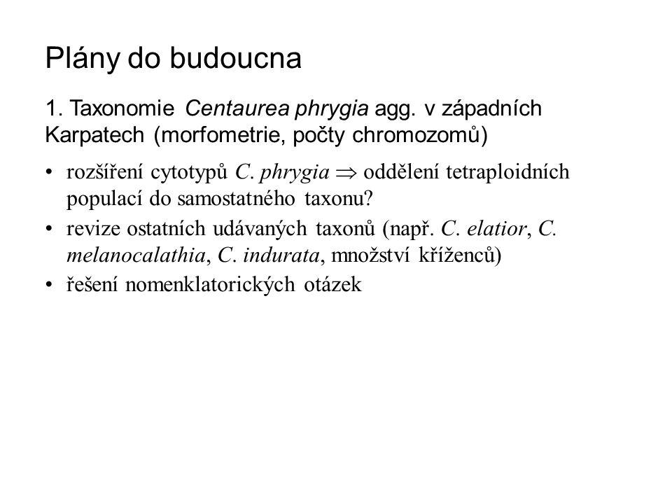 Plány do budoucna 1. Taxonomie Centaurea phrygia agg. v západních Karpatech (morfometrie, počty chromozomů)
