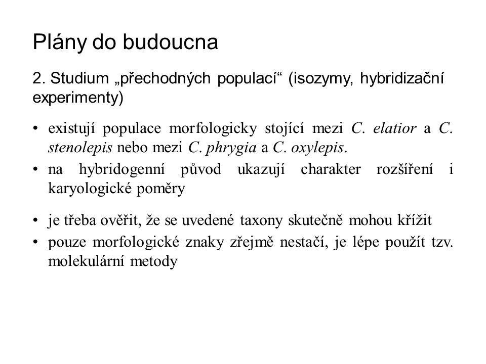 """Plány do budoucna 2. Studium """"přechodných populací (isozymy, hybridizační experimenty)"""