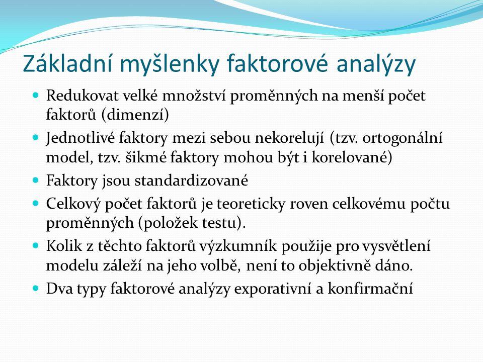 Základní myšlenky faktorové analýzy