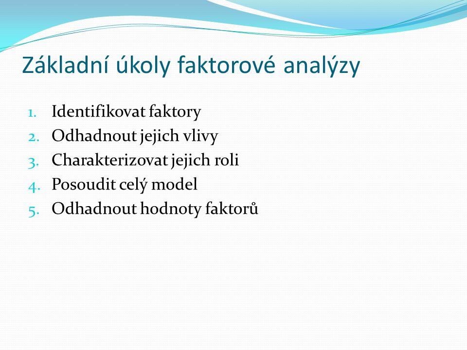Základní úkoly faktorové analýzy