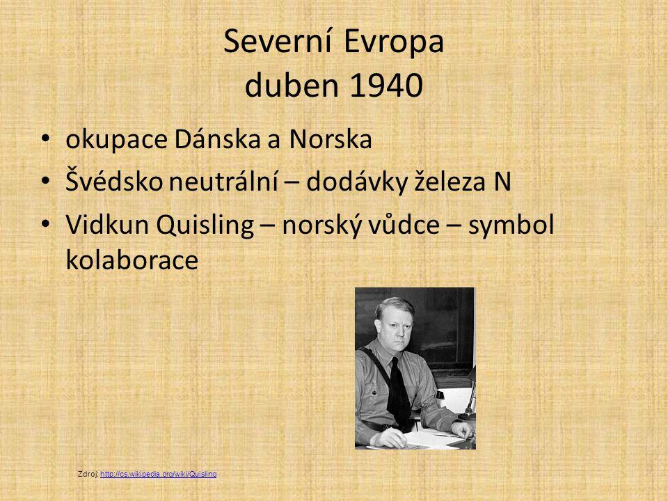 Severní Evropa duben 1940 okupace Dánska a Norska