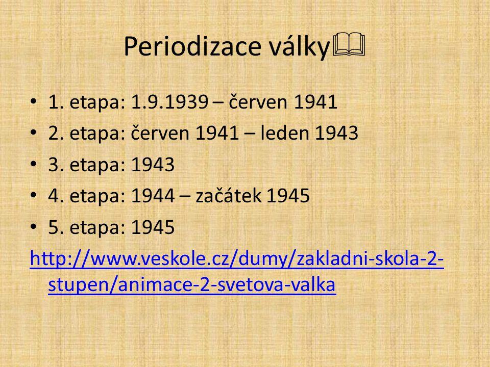 Periodizace války 1. etapa: 1.9.1939 – červen 1941