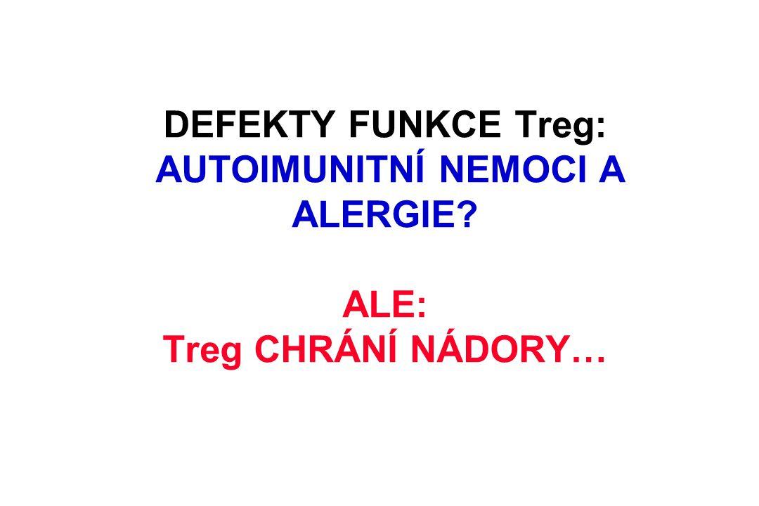 DEFEKTY FUNKCE Treg: AUTOIMUNITNÍ NEMOCI A ALERGIE