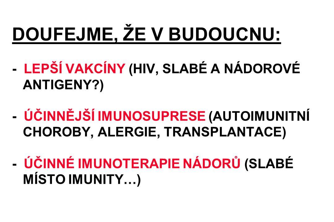 DOUFEJME, ŽE V BUDOUCNU: - LEPŠÍ VAKCÍNY (HIV, SLABÉ A NÁDOROVÉ ANTIGENY ) - ÚČINNĚJŠÍ IMUNOSUPRESE (AUTOIMUNITNÍ CHOROBY, ALERGIE, TRANSPLANTACE) - ÚČINNÉ IMUNOTERAPIE NÁDORŮ (SLABÉ MÍSTO IMUNITY…)