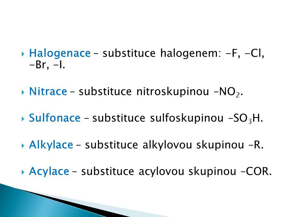 Halogenace – substituce halogenem: -F, -Cl, -Br, -I.