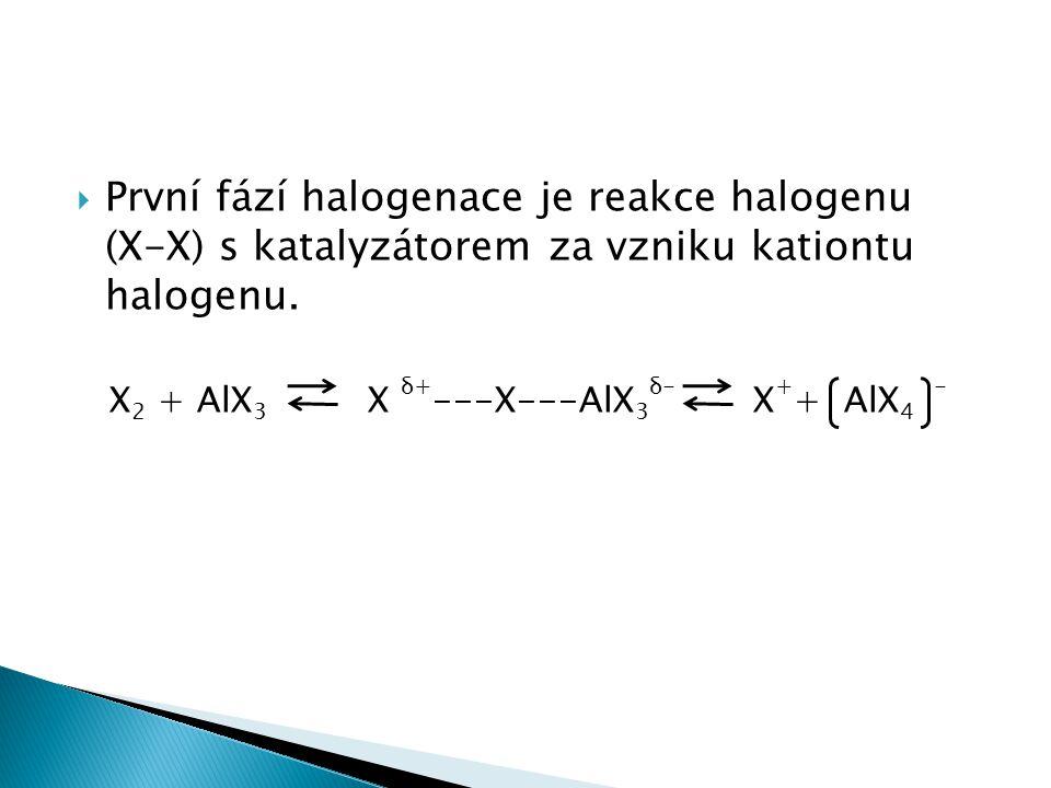 První fází halogenace je reakce halogenu (X-X) s katalyzátorem za vzniku kationtu halogenu.