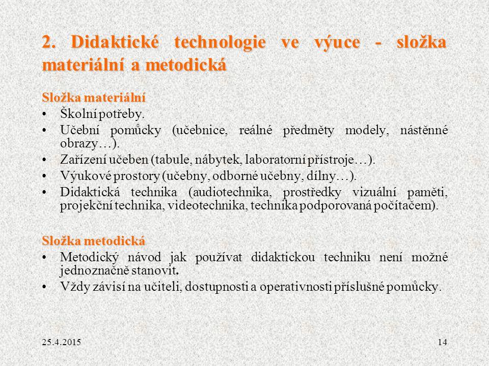 2. Didaktické technologie ve výuce - složka materiální a metodická
