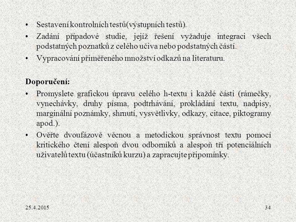 Sestavení kontrolních testů(výstupních testů).