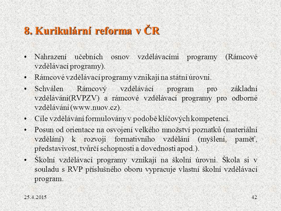 8. Kurikulární reforma v ČR