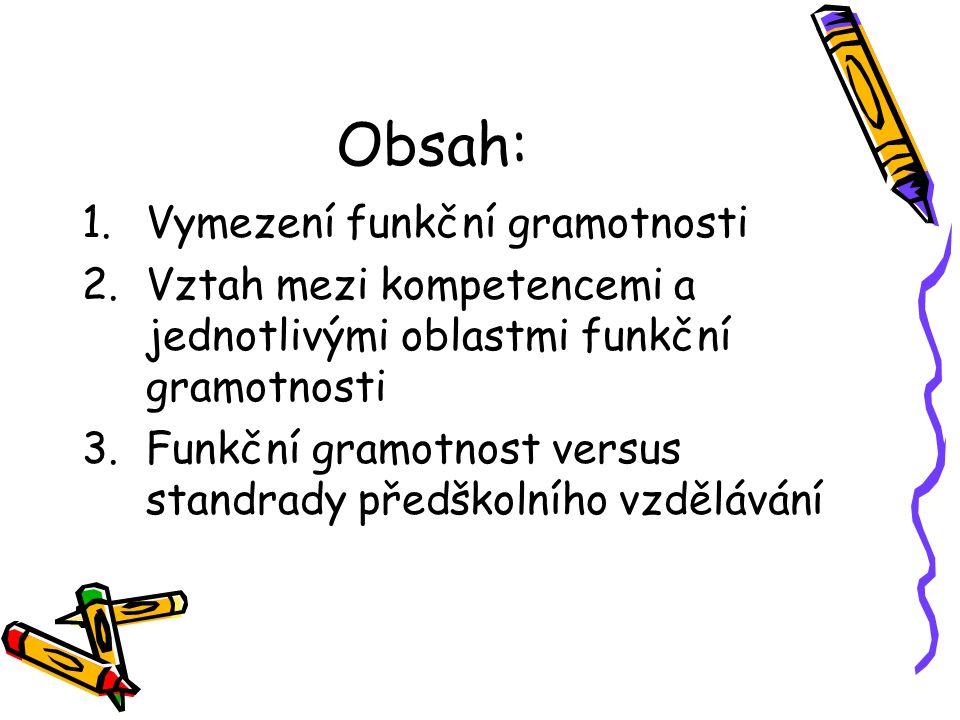 Obsah: Vymezení funkční gramotnosti