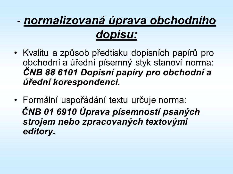 - normalizovaná úprava obchodního dopisu: