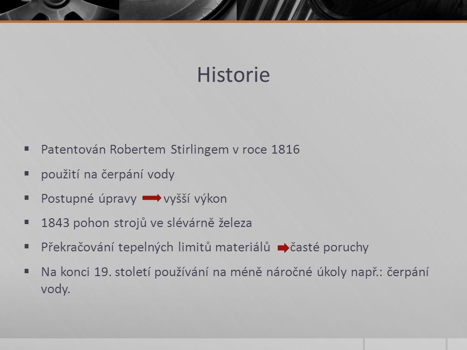 Historie Patentován Robertem Stirlingem v roce 1816