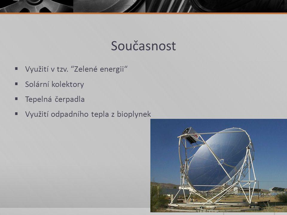 Současnost Využití v tzv. Zelené energii Solární kolektory
