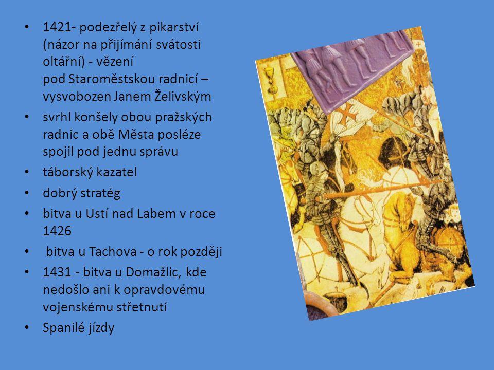 1421- podezřelý z pikarství (názor na přijímání svátosti oltářní) - vězení pod Staroměstskou radnicí – vysvobozen Janem Želivským