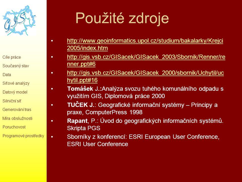 Použité zdroje http://www.geoinformatics.upol.cz/studium/bakalarky/Krejci2005/index.htm.