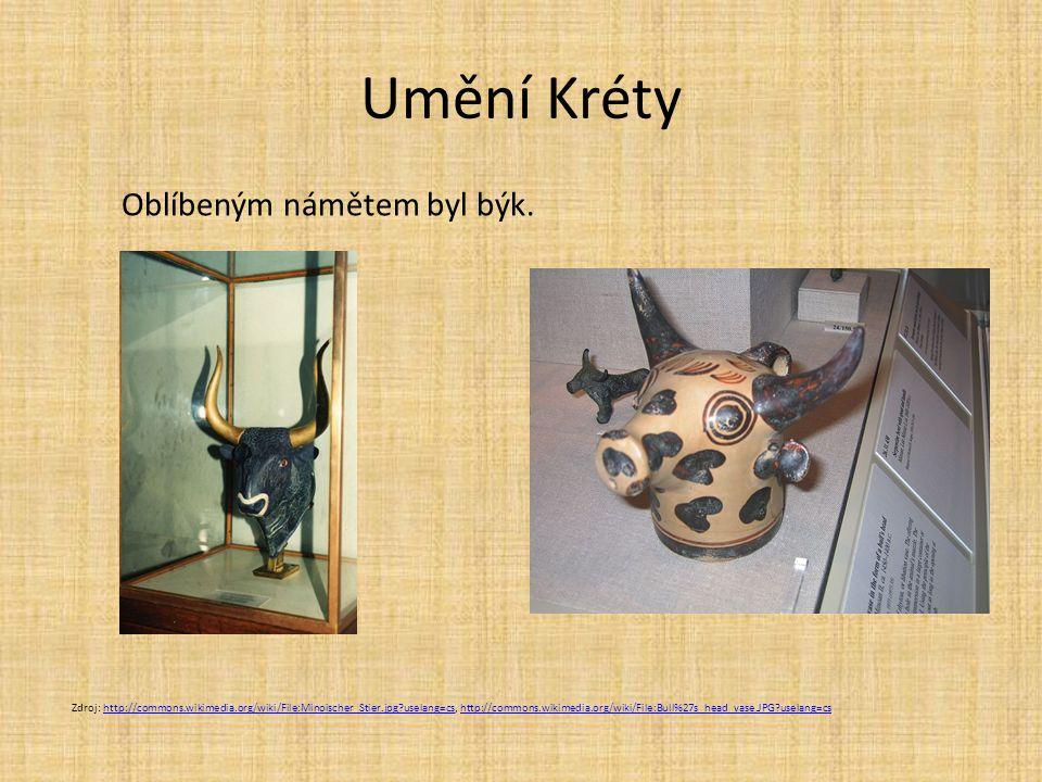 Umění Kréty Oblíbeným námětem byl býk.