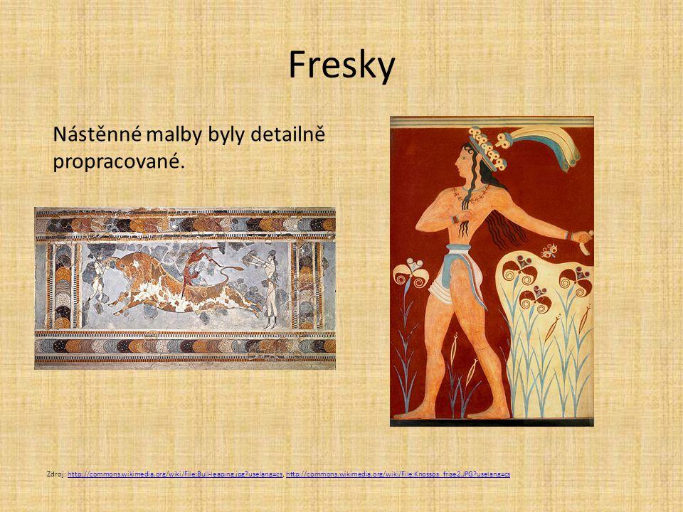 Fresky Nástěnné malby byly detailně propracované.