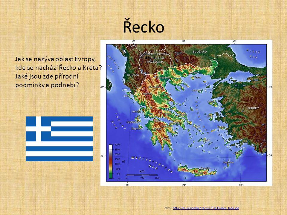 Řecko Jak se nazývá oblast Evropy, kde se nachází Řecko a Kréta