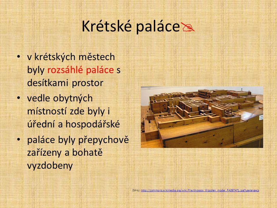 Krétské paláce v krétských městech byly rozsáhlé paláce s desítkami prostor. vedle obytných místností zde byly i úřední a hospodářské.