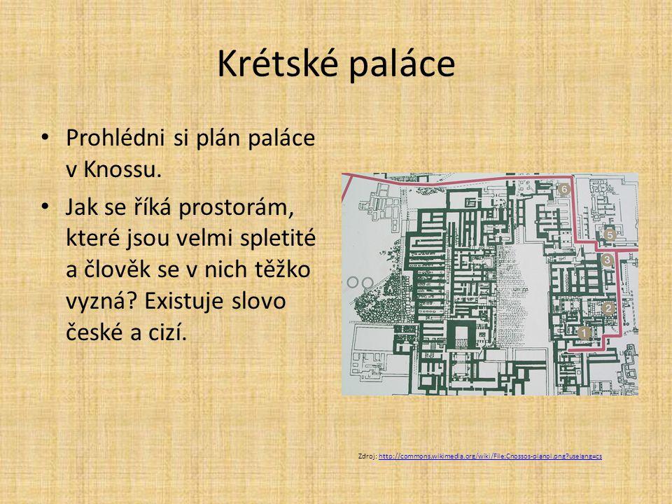 Krétské paláce Prohlédni si plán paláce v Knossu.
