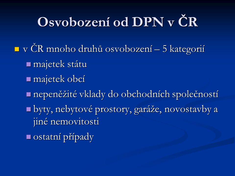 Osvobození od DPN v ČR v ČR mnoho druhů osvobození – 5 kategorií
