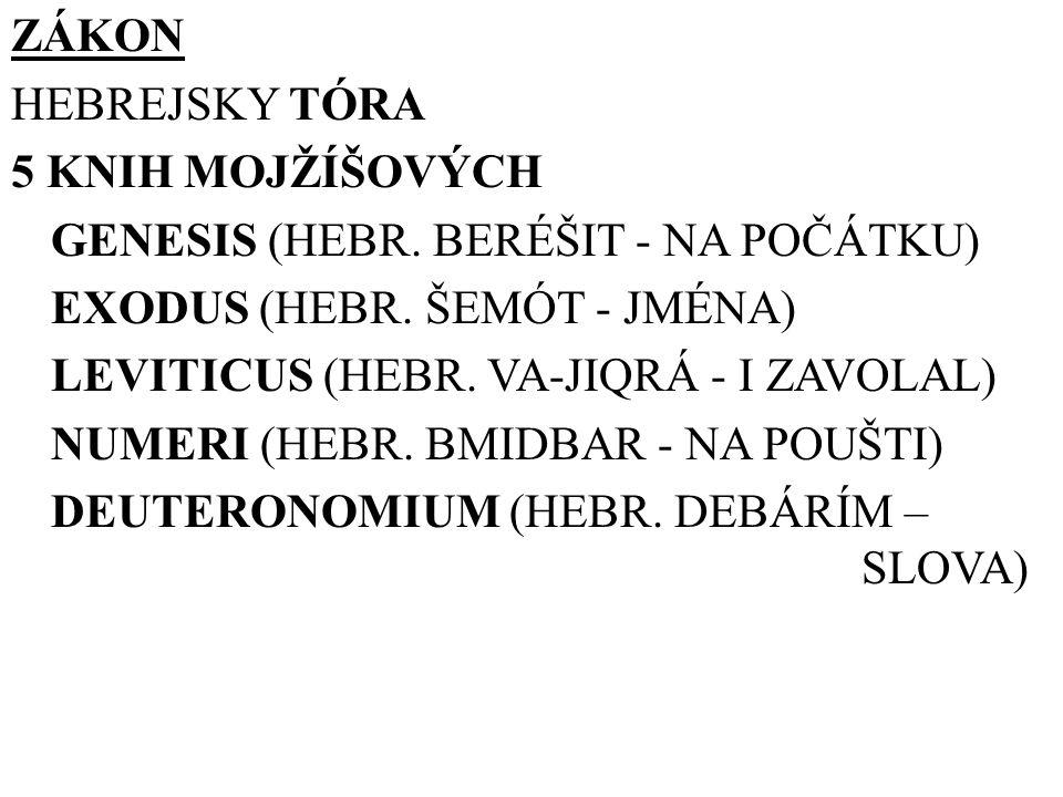 ZÁKON HEBREJSKY TÓRA 5 KNIH MOJŽÍŠOVÝCH GENESIS (HEBR