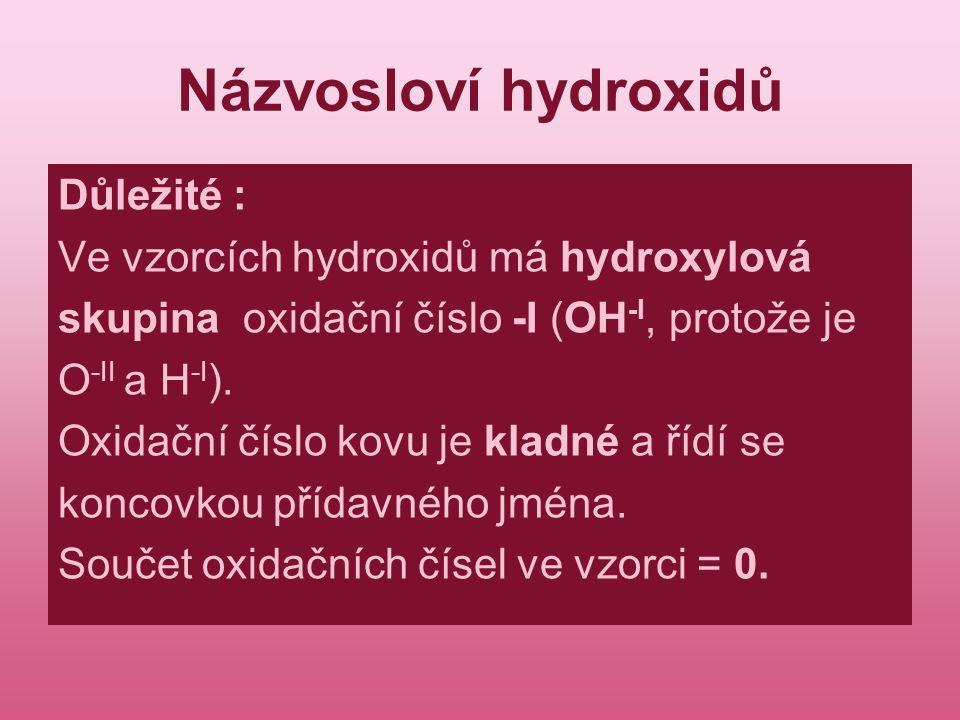 Názvosloví hydroxidů Důležité : Ve vzorcích hydroxidů má hydroxylová