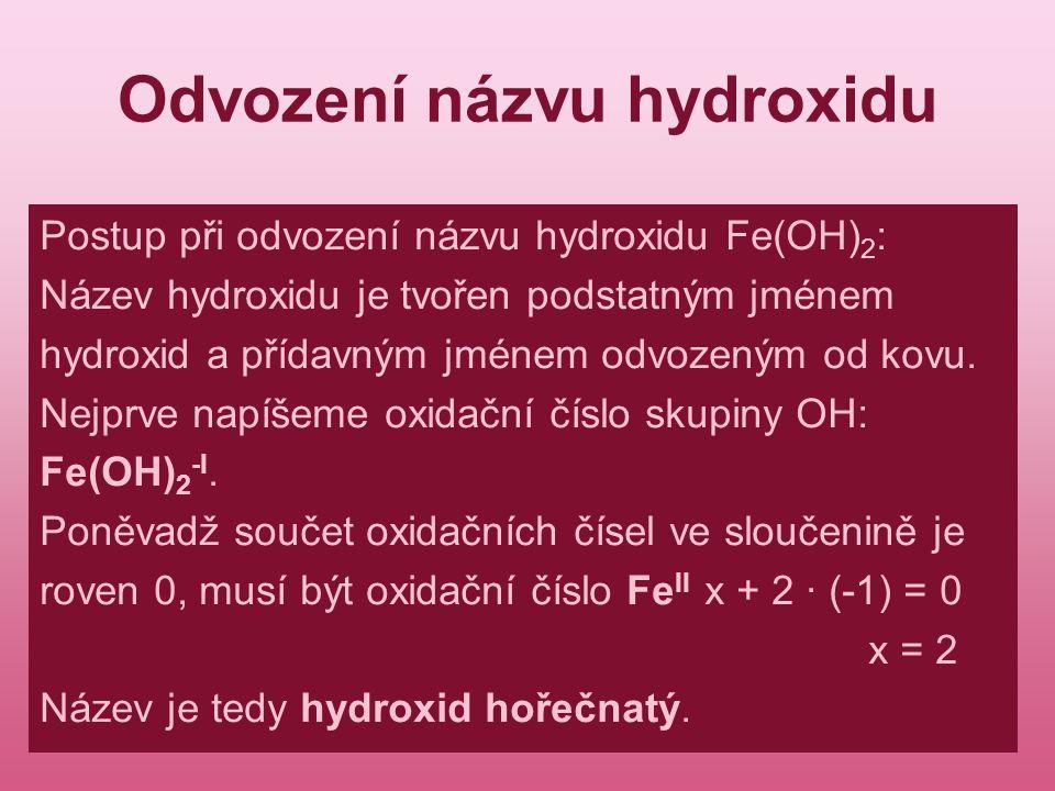 Odvození názvu hydroxidu