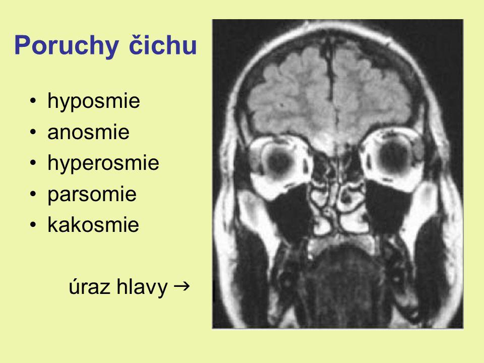 Poruchy čichu hyposmie anosmie hyperosmie parsomie kakosmie