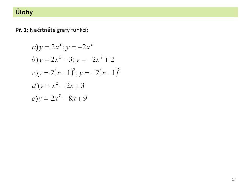 Úlohy Př. 1: Načrtněte grafy funkcí: