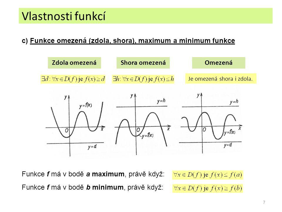 Vlastnosti funkcí c) Funkce omezená (zdola, shora), maximum a minimum funkce. Zdola omezená. Shora omezená.