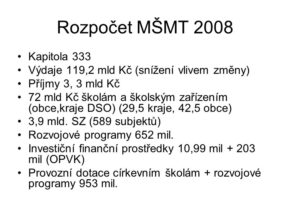 Rozpočet MŠMT 2008 Kapitola 333