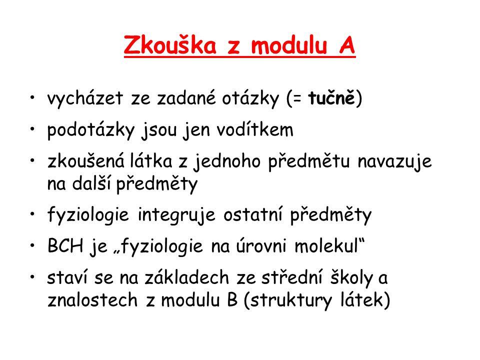 Zkouška z modulu A vycházet ze zadané otázky (= tučně)