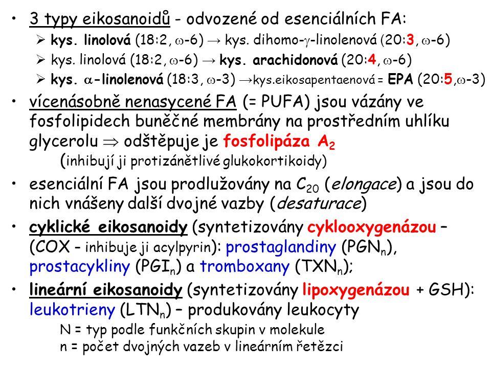 3 typy eikosanoidů - odvozené od esenciálních FA: