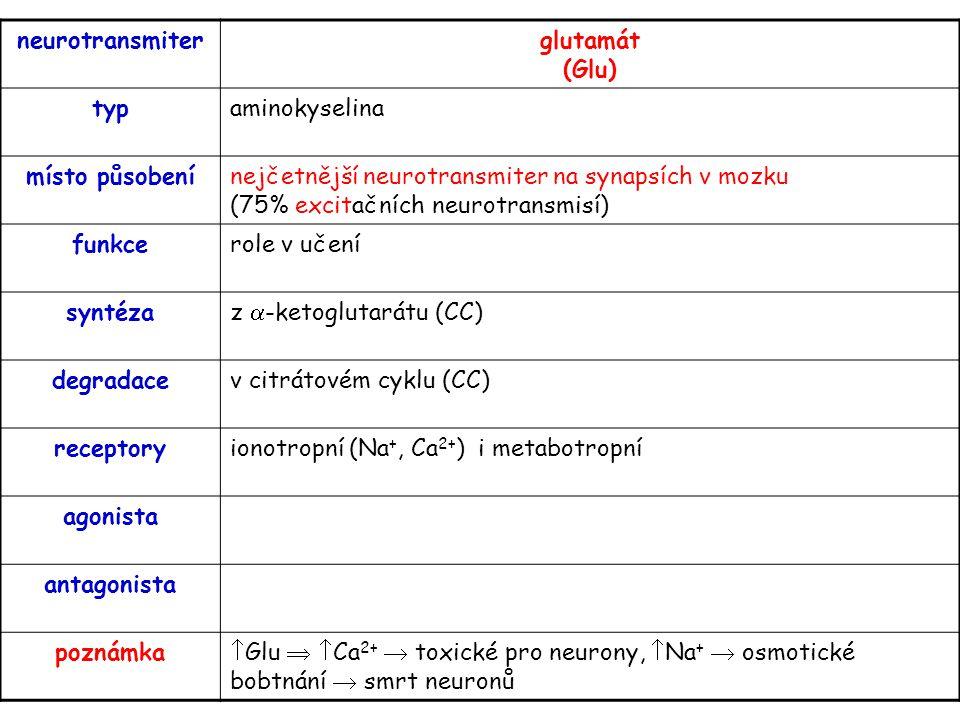 neurotransmiter glutamát (Glu) typ. aminokyselina. místo působení.
