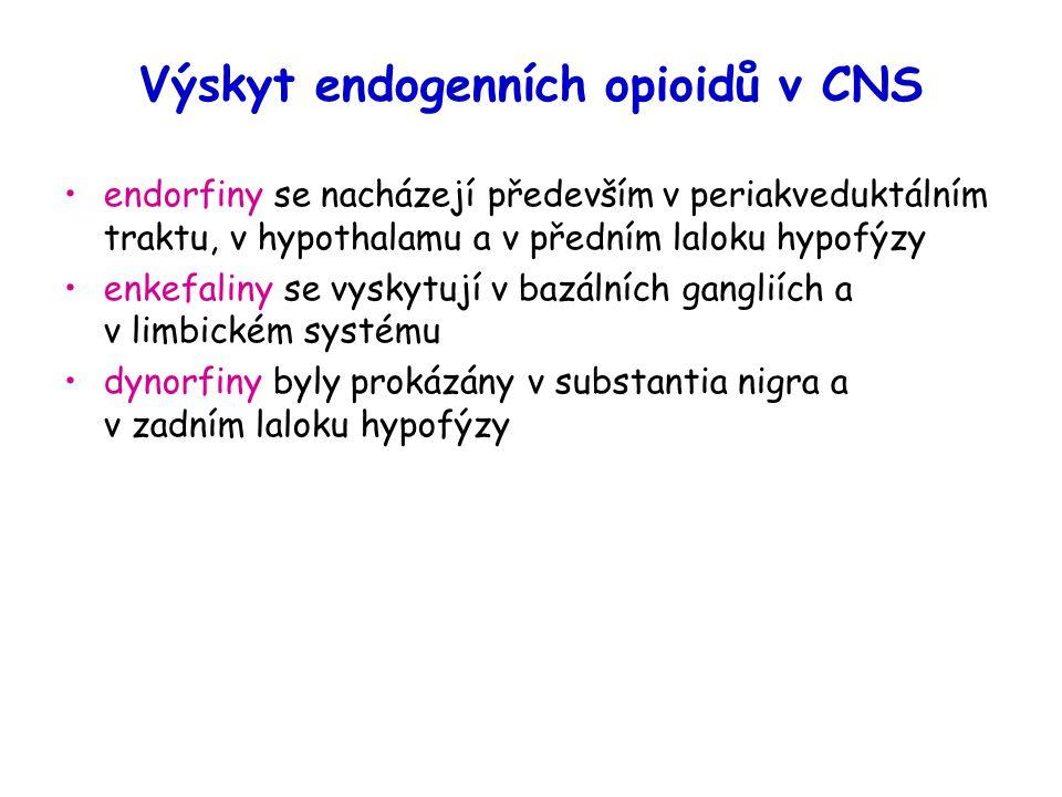 Výskyt endogenních opioidů v CNS